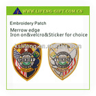 Custom embroideried badges with velcro on the back