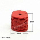 Red Flower Cylinder Carved Cinnabar/Lacquer Beads