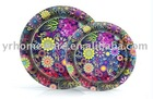 9inch round printed paper plate (home deco tableware)