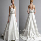 Strapless A-line chapel train beading wedding dress