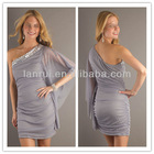 2013 grey short acrylic soft chiffon sexy side slit prom dresses