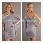2013 grey short acrylic soft chiffon sexy side slit prom dresses