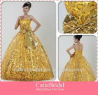 New Arrival!Strapless Luxurious Lace Gold Prom Dress With Full Sequined Bow Open Back Ball Gown