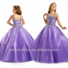 Lilac Scoop Ball Gown Sweep Train Sequin Handing Beads Flower Girl Dress Wedding Gown