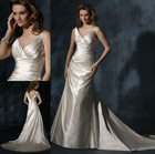 WD-797 Sexy deep v neckline cheap ivory satin wedding dresses made to order china
