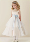 Hot Sale DF0070 Light Blue Sash Cute tutu Two-layer Tulle Bottom Flower Girl Dress