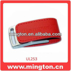 Red leather usb logo embossed