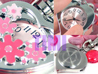 Pretty pink Flower Heart Key Ring Pendant Pocket Watch