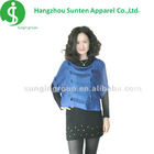 ladyl's round-neck short sleeve blue knitted poncho sweater
