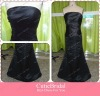 Custom Made Sheath Satin Lace Up Strapless Pleats Floor Length Bridesmaid Dress Long Black Evening Dress
