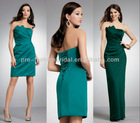 Strapless Pleated Bodice Corset Back Olive Green Bridesmaids Dresses