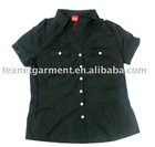 Ladies Short Sleeve Black Cotton Blouse