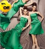 Style RZ-bd033 strapless pleated satin floor length bridesmaid dress