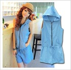 2011 popular women's hooded zip solid color leotard personalized piece pants shorts vest
