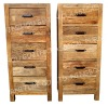 Natural Wood Chest With 5 Drawer In Reclaimed Elm