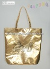 Shiny Gold PU Shoulder Bag with Dragon Printing