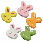 Wood Beads, Lead Free, Rabbit, Dyed, Multicolor, Size: about 20x21x5mm, hole: 2mm(WOOD-21X20-M-1)