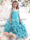 New Stock A Line Halter Floor Length Organza Blue Girls Pageant Dress