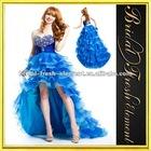 Organza Sweetheart Beaded Ruffled Royal Blue High Low Prom Dresses