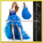 Organza Sweetheart Beaded Ruffled Royal Blue High Low Prom Dresses