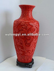 carved lacquer vase dragon design