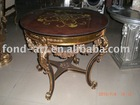 Antique&classic style decorative gold round wood top tea table