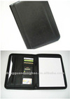 A4 leather portfolio folder, pu document bag,zipper around folder with calculator,2013 custom compendium