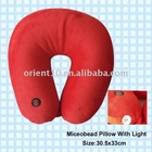 Microbead travel neck pillow with LED Light