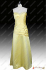 Hot Sale Real Photos New Style Satin Sweetheart Beaded Floor Length Sleeveless Yellow Prom Dress 2013