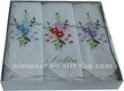 100% cotton embroidery woven Ladies handkerchief (HK-001)