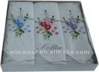100% cotton embroidery woven Ladies handkerchief (HK-001)