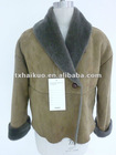 lady leatther overcoat with fur collar