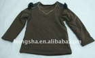 children clothes 100%cotton long sleeve blouse in coffee E69006