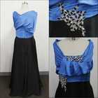 Personalized design cap sleeve applique and beaded floor length blue and black sating ruffle 2 piece prom dress