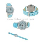 Blue PU Leather Strap Analog Watch with Diamonds