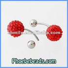 Wholesale 10mm Pave Crystal Rhinestone Disco Ball Body Navel Bell Jewelry Belly Button Rings Piercing Charms BBR-A001