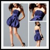 Purple Taffeta Tie Waist Flower Flat Bowknot Tea Length Cocktail Dress
