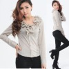 ruffled neck designer new custom made fashion lady blouse