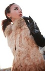 gradual change ladies' korean style Fashion Genuine Rabbit fur long vest/coat with raccoon dog fur collar (CH-011)