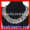 Ladies Chunky Handmade Choker Leather Necklace, Silver Chain Rhinestone Bib Necklace Wholesale JW0106-5