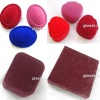 Jewelry rings box, fluffy, multicolor, oval, 52x66mm, sold per pc, JS2950