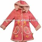 Sweet girls long coat micro suede bonding lamb fur