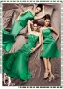 Newest Style Green Ruching Long Bridesmaid Dress