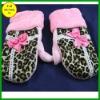 Polar fleece leopard pattern cute pink bowknot gloves FB011230 #