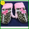 Polar fleece leopard pattern cute pink bowknot gloves FB011230 #