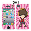 TWO Sided mobile phone Sticker Skin (front and back) for iPhone 4,cartoon character pattern Protector Decal