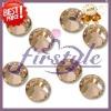 Hot sales Supper shining ss4, ss6.ss8,ss10.ss12,ss16,ss20,ss30,ss34,ss40 champagne color dmc hot fix rhinestone motif