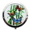 round compact shell mirror with butterfly SCM0010