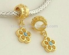 European Gold dangle beads, charm pendants