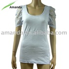 Ladies t shirt with lace puff sleeve